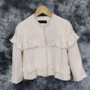Zara fringed tweed jacket size S
